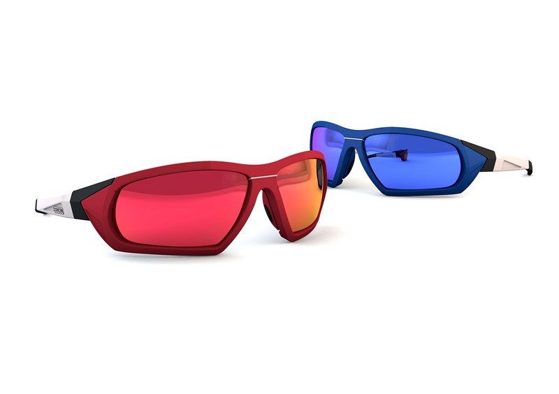 Sports frames with coloured lenses on a white background