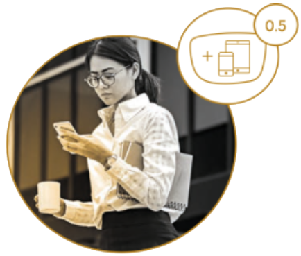 Circle image of woman wearing glasses on a smartphone