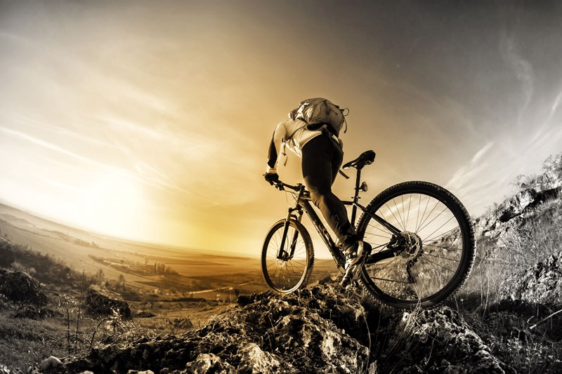 Male on mountain bike trecking up mountain