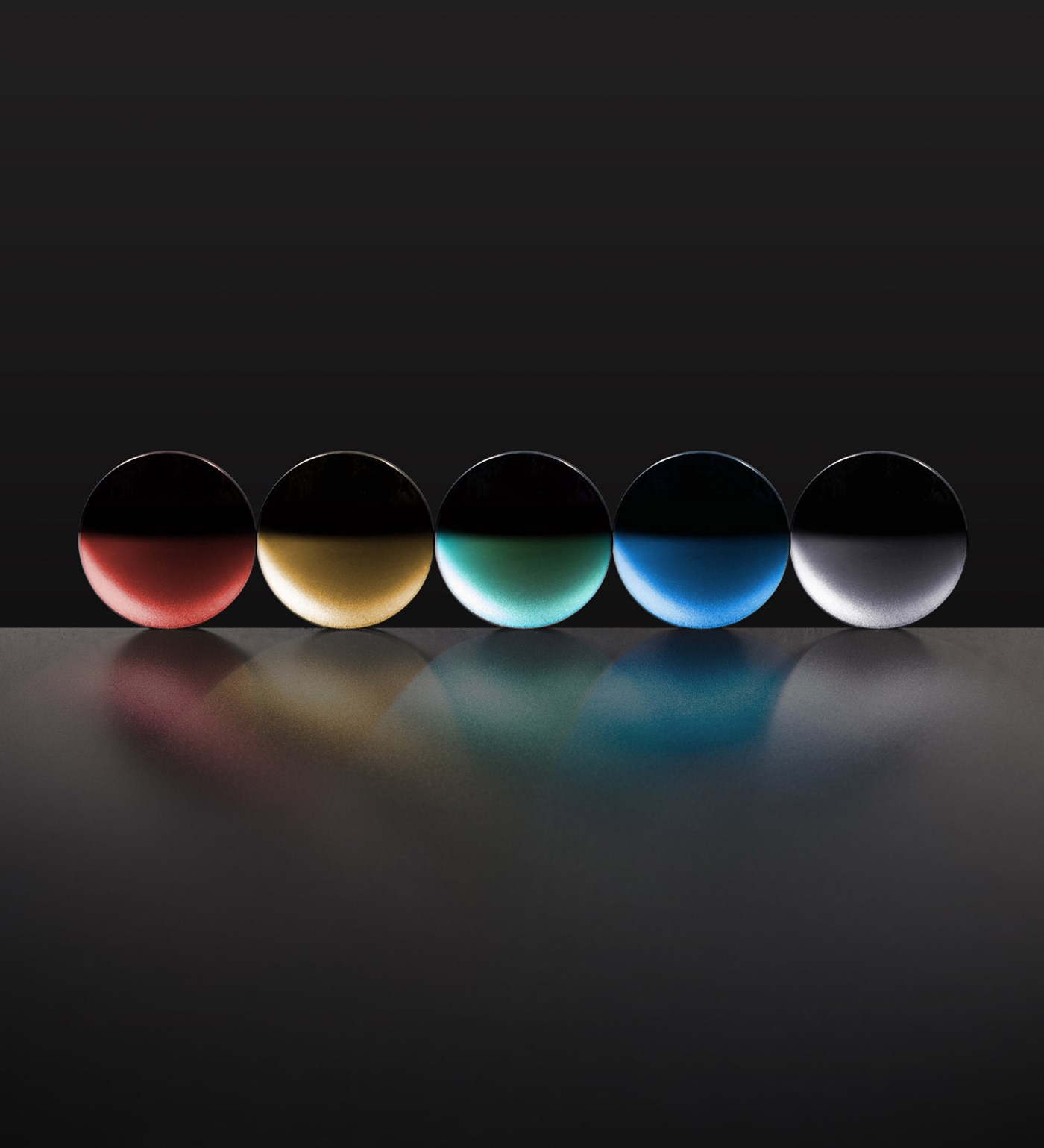 Five different lens treatments of different colours