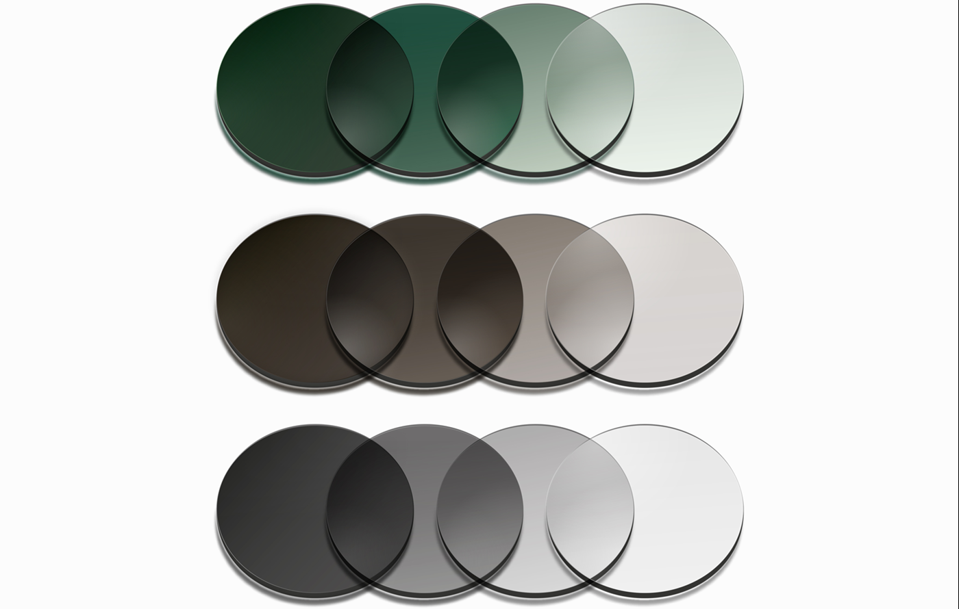 Three different coloured lens tints from dark to light