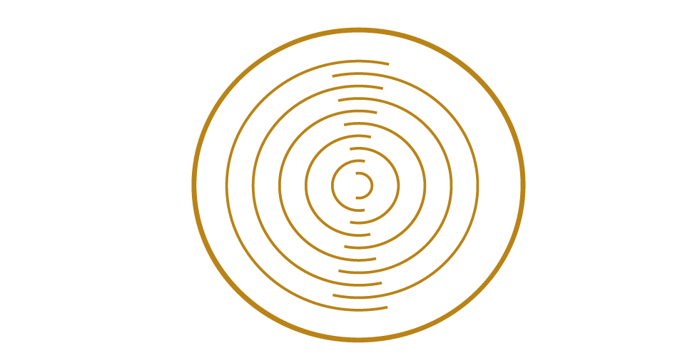 Gold circle icon for optimized synchronization