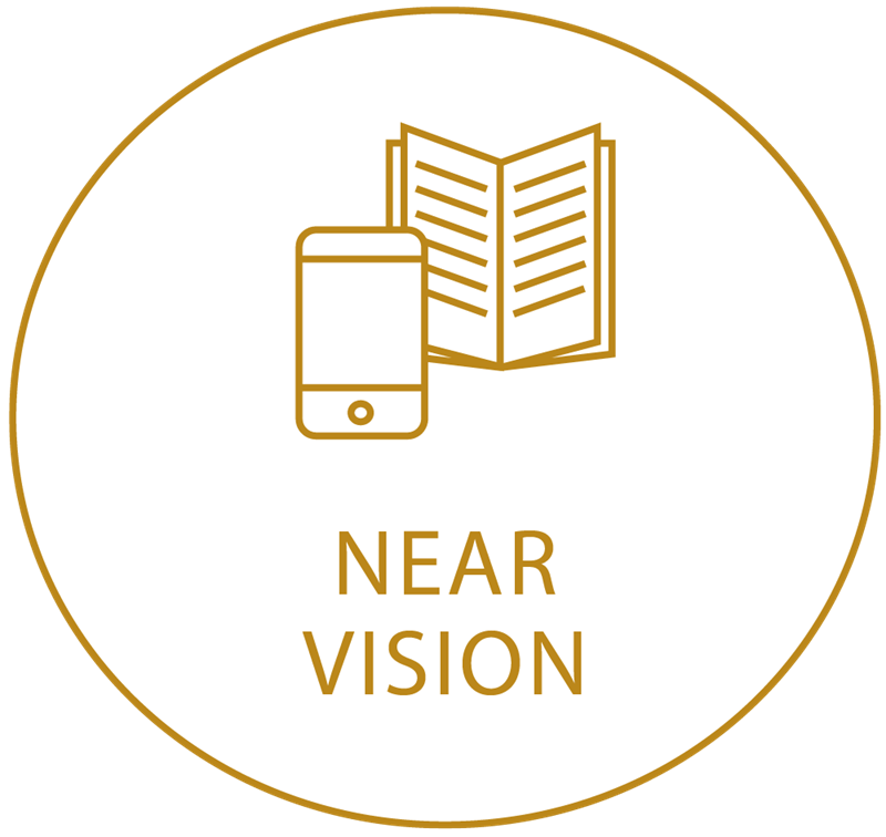 Gold circle icon showing near vision
