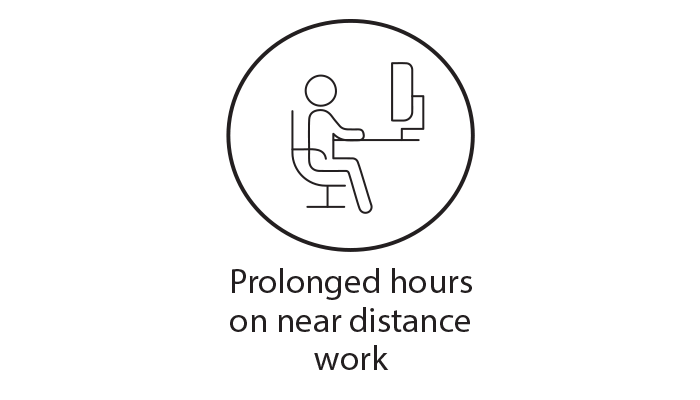 Black circle icon representing prolonged working hours on near distance work