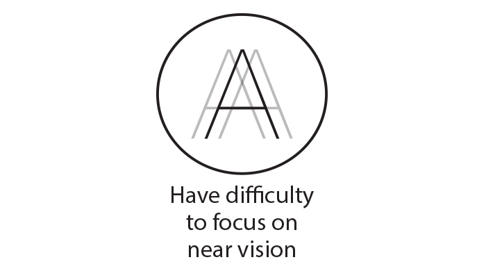 Black circle icon representing having difficulty to focus on near vision