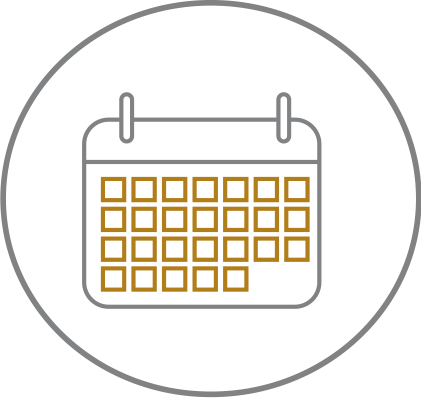 Black circle icon with outline of a calendar in the centre
