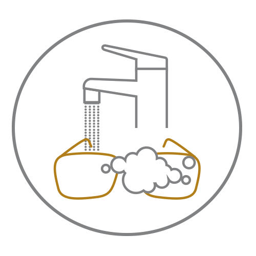 Black circle icon with outline of tap pouring water and glasses underneath