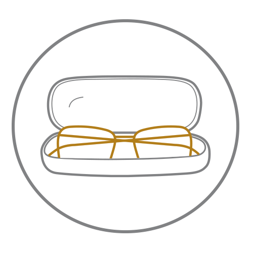 Black circle icon with outline of glasses in case