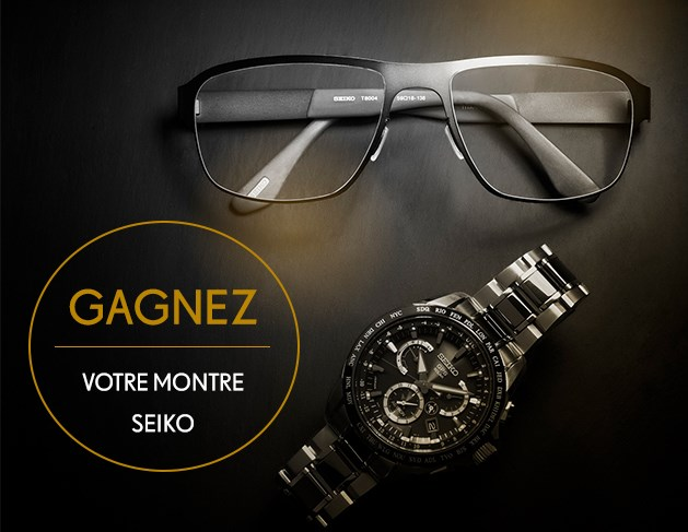 SEIKO eyeglass frames and watch sitting on table