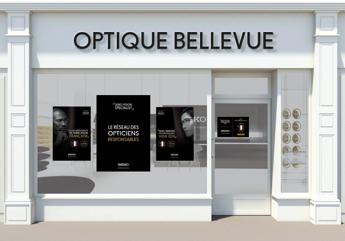 Concept drawing of Optique Bellevue store front