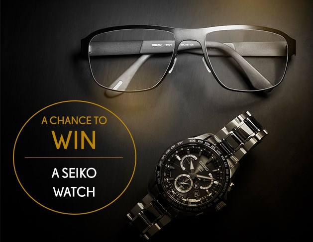 Win a watch competition photo with watch and glasses with Seiko frames on a table